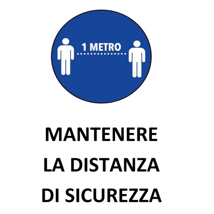 CARTELLO DISTANZA DI SICUREZZA SU ALLUMINIO FORMATO A4 SEGNALETICA