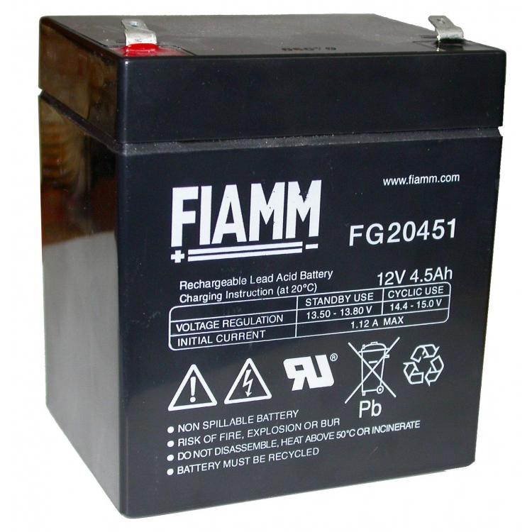 BATTERIA FIAMM 12V 4,5 Ah FG20451 VRLA AGM ERMETICA UPS ANTIFURTO SOLARE