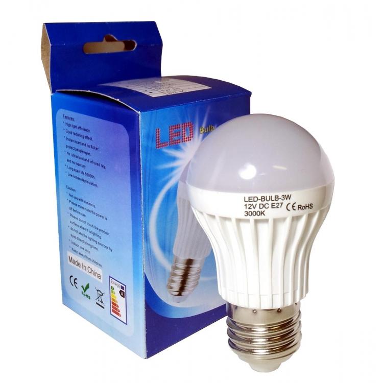 LAMPADA LED BULBO CALDA 3W 12V E27  SOLARE FOTOVOLTAICO BAITA