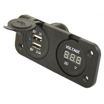 VOLTMETRO + PRESA DOPPIA USB 12V DA INCASSO AUTO CAMPER